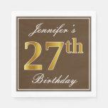 [ Thumbnail: Elegant Brown, Faux Gold 27th Birthday + Name Napkin ]