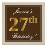 [ Thumbnail: Elegant, Brown, Faux Gold 27th Birthday + Name Poster ]