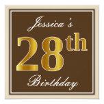 [ Thumbnail: Elegant, Brown, Faux Gold 28th Birthday + Name Invitation ]