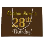 [ Thumbnail: Elegant, Brown, Faux Gold 28th Birthday + Name Gift Bag ]