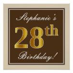 [ Thumbnail: Elegant, Brown, Faux Gold 28th Birthday + Name Poster ]