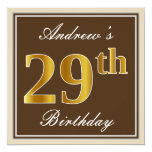 [ Thumbnail: Elegant, Brown, Faux Gold 29th Birthday + Name Invitation ]