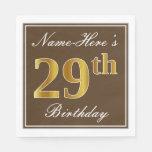 [ Thumbnail: Elegant Brown, Faux Gold 29th Birthday + Name Napkin ]