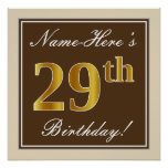 [ Thumbnail: Elegant, Brown, Faux Gold 29th Birthday + Name Poster ]