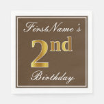 [ Thumbnail: Elegant Brown, Faux Gold 2nd Birthday; Custom Name Napkin ]