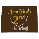[ Thumbnail: Elegant, Brown, Faux Gold 2nd Birthday + Name Gift Bag ]