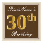 [ Thumbnail: Elegant, Brown, Faux Gold 30th Birthday + Name Invitation ]