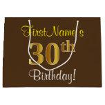 [ Thumbnail: Elegant, Brown, Faux Gold 30th Birthday + Name Gift Bag ]