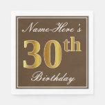 [ Thumbnail: Elegant Brown, Faux Gold 30th Birthday + Name Napkin ]
