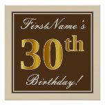 [ Thumbnail: Elegant, Brown, Faux Gold 30th Birthday + Name Poster ]