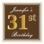 [ Thumbnail: Elegant, Brown, Faux Gold 31st Birthday + Name Invitation ]