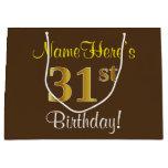 [ Thumbnail: Elegant, Brown, Faux Gold 31st Birthday + Name Gift Bag ]