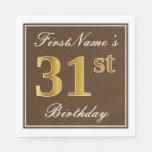 [ Thumbnail: Elegant Brown, Faux Gold 31st Birthday + Name Napkin ]