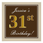 [ Thumbnail: Elegant, Brown, Faux Gold 31st Birthday + Name Poster ]