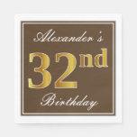 [ Thumbnail: Elegant Brown, Faux Gold 32nd Birthday + Name Napkin ]
