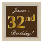 [ Thumbnail: Elegant, Brown, Faux Gold 32nd Birthday + Name Poster ]