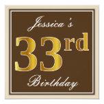 [ Thumbnail: Elegant, Brown, Faux Gold 33rd Birthday + Name Invitation ]
