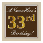 [ Thumbnail: Elegant, Brown, Faux Gold 33rd Birthday + Name Poster ]