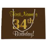 [ Thumbnail: Elegant, Brown, Faux Gold 34th Birthday + Name Gift Bag ]