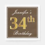 [ Thumbnail: Elegant Brown, Faux Gold 34th Birthday + Name Napkin ]