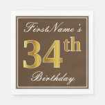 [ Thumbnail: Elegant Brown, Faux Gold 34th Birthday + Name Napkin ]