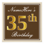 [ Thumbnail: Elegant, Brown, Faux Gold 35th Birthday + Name Invitation ]