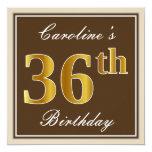 [ Thumbnail: Elegant, Brown, Faux Gold 36th Birthday + Name Invitation ]