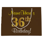 [ Thumbnail: Elegant, Brown, Faux Gold 36th Birthday + Name Gift Bag ]