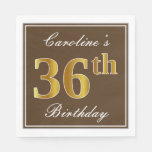[ Thumbnail: Elegant Brown, Faux Gold 36th Birthday + Name Napkin ]