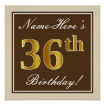 [ Thumbnail: Elegant, Brown, Faux Gold 36th Birthday + Name Poster ]