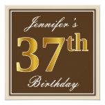 [ Thumbnail: Elegant, Brown, Faux Gold 37th Birthday + Name Invitation ]