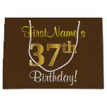 [ Thumbnail: Elegant, Brown, Faux Gold 37th Birthday + Name Gift Bag ]