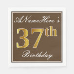 [ Thumbnail: Elegant Brown, Faux Gold 37th Birthday + Name Napkin ]