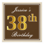 [ Thumbnail: Elegant, Brown, Faux Gold 38th Birthday + Name Invitation ]