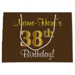 [ Thumbnail: Elegant, Brown, Faux Gold 38th Birthday + Name Gift Bag ]