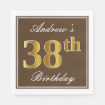 [ Thumbnail: Elegant Brown, Faux Gold 38th Birthday + Name Napkin ]