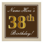 [ Thumbnail: Elegant, Brown, Faux Gold 38th Birthday + Name Poster ]