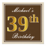 [ Thumbnail: Elegant, Brown, Faux Gold 39th Birthday + Name Invitation ]