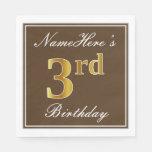 [ Thumbnail: Elegant Brown, Faux Gold 3rd Birthday; Custom Name Napkin ]