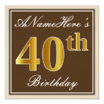 [ Thumbnail: Elegant, Brown, Faux Gold 40th Birthday + Name Invitation ]
