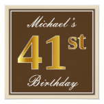 [ Thumbnail: Elegant, Brown, Faux Gold 41st Birthday + Name Invitation ]