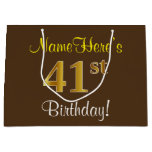 [ Thumbnail: Elegant, Brown, Faux Gold 41st Birthday + Name Gift Bag ]