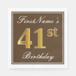 [ Thumbnail: Elegant Brown, Faux Gold 41st Birthday + Name Napkin ]