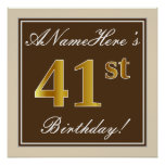 [ Thumbnail: Elegant, Brown, Faux Gold 41st Birthday + Name Poster ]