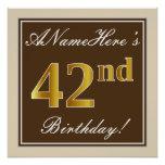 [ Thumbnail: Elegant, Brown, Faux Gold 42nd Birthday + Name Poster ]