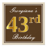 [ Thumbnail: Elegant, Brown, Faux Gold 43rd Birthday + Name Invitation ]