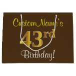 [ Thumbnail: Elegant, Brown, Faux Gold 43rd Birthday + Name Gift Bag ]