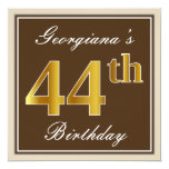 [ Thumbnail: Elegant, Brown, Faux Gold 44th Birthday + Name Invitation ]