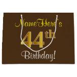 [ Thumbnail: Elegant, Brown, Faux Gold 44th Birthday + Name Gift Bag ]