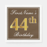 [ Thumbnail: Elegant Brown, Faux Gold 44th Birthday + Name Napkin ]